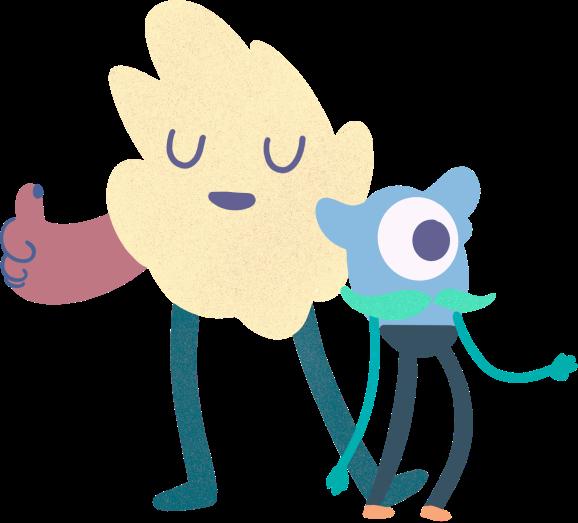 Kaksi piirrettyä hahmoa