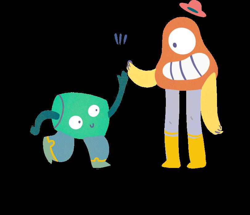 Kaksi piirrettyä hahmoa lyö kädet yhteen