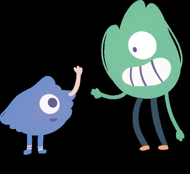 Kaksi piirrettyä hahmoa tervehtii